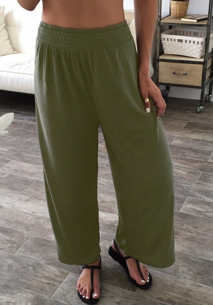 Front shot of girl in army green elastic waist lounge pants
