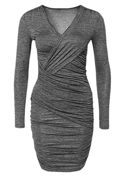 Front shot of grey surplice ruched bodycon dress