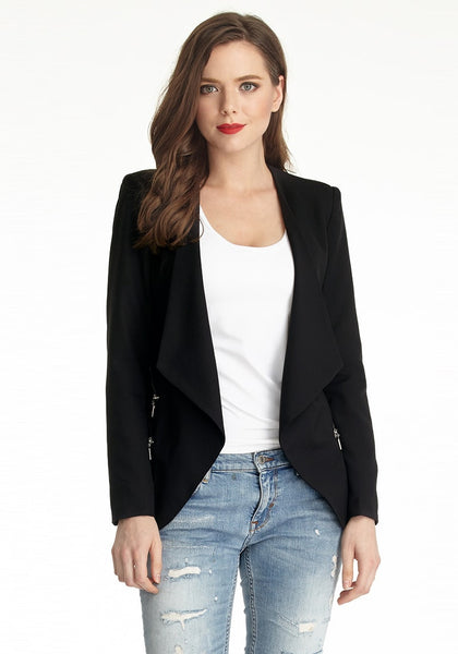 Front shot of model in black draped blazer