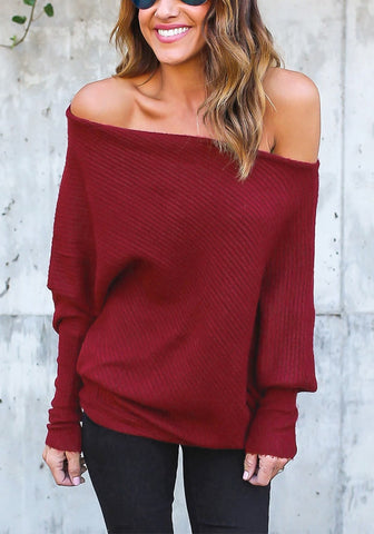 Burgundy Off-Shoulder Bat Sleeves Sweater