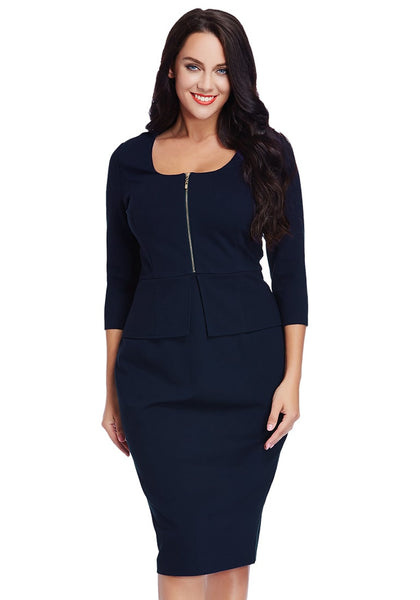 Plus Size Navy Blue Zip-Up Pencil Dress