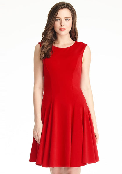 Front shot of model in red sleeveless skater dress