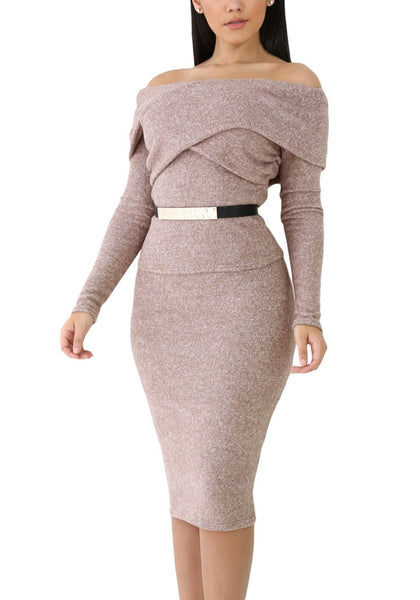 Front shot of model wearing heather brown off-shoulder skirt set