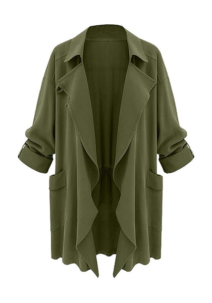 Front shot of  moss green draped cardigan