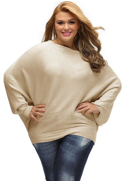 Front shot of woman in khaki off-shoulder bat sleeves sweater