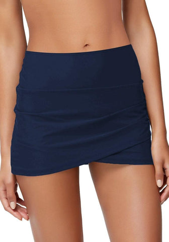 Navy Tulip-Hem Mid-Waist Ruched Swim Skirt
