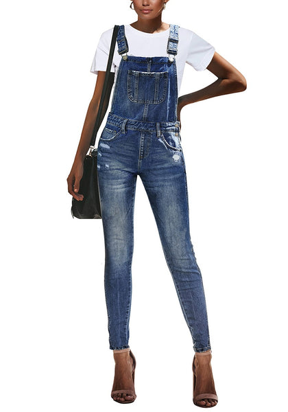Front view model wearing dark blue ripped skinny jeans denim bib overalla