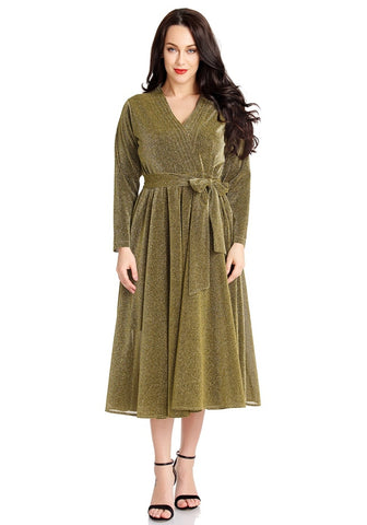 Gold Ruched Long Sleeves Surplice Midi Skater Dress