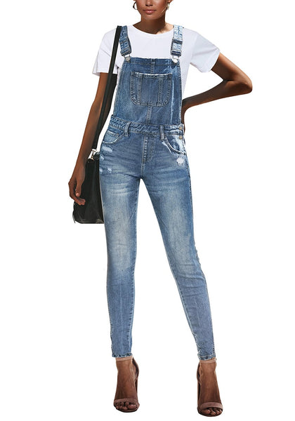 Front view model wearing light blue ripped skinny jeans denim bib overall