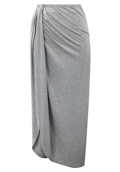 Front view of Dark grey wrap maxi skirt
