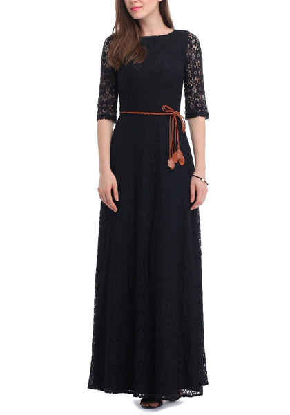 Front view of a woman in black maxi lace dress
