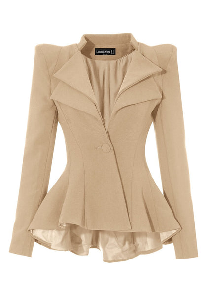 Front view of apricot double lapel fit-and-flare blazer