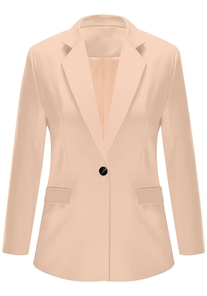 Front view of apricot notch lapel single-button blazer's image