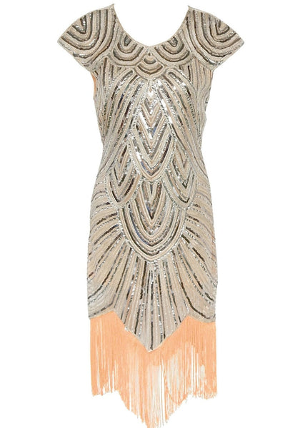 Front view of apricot sequin fringed flapper dress