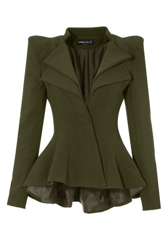 Army Green Double Lapel Fit-and-Flare Blazer