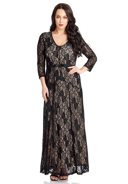 Front view of beautiful model wearing black floral hollow lace maxi dress