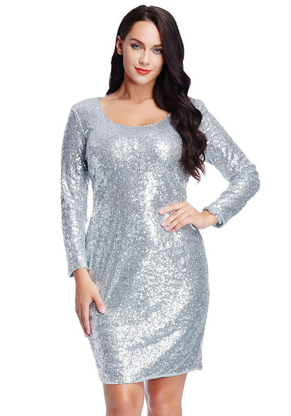 Front view of beautiful model wearing plus size silver sequined party dress