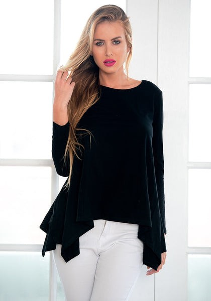 Front view of beauty model in black asymmetrical blouse