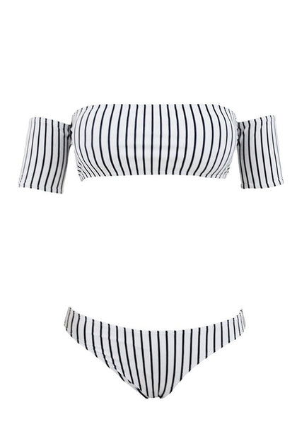 Front view of black and white striped off-shoulder bikini set