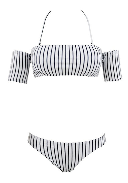 Front view of black and white striped off-shoulder bikini set with straps
