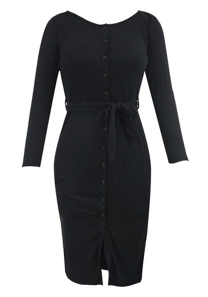 Front view of black belted button-front bodycon dress' 3D image