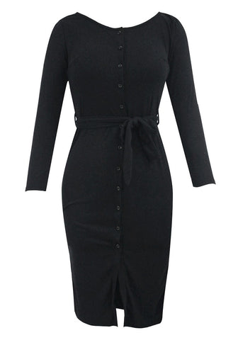 Black Belted Button-Front Bodycon Dress