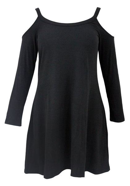Front shot of woman in black cold-shoulder tunic dress