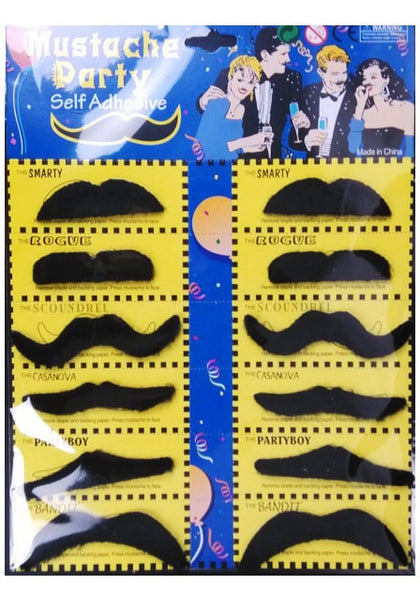 Front view of black fake mustache set