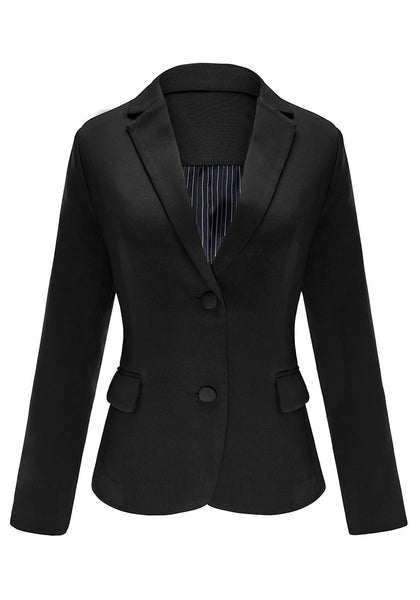 Front view of black flap pocket single breasted lapel blazer's 3D image