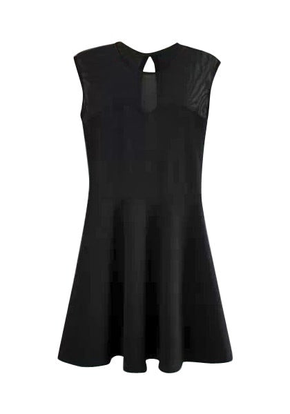 Front view of  black illusion-neck sleeveless mini dress