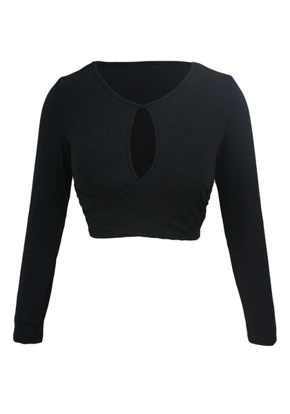 Front view of black keyhole wrap crop top's 3D image