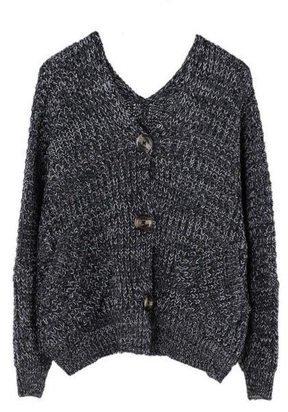 Front view of black melange front-button cardigan