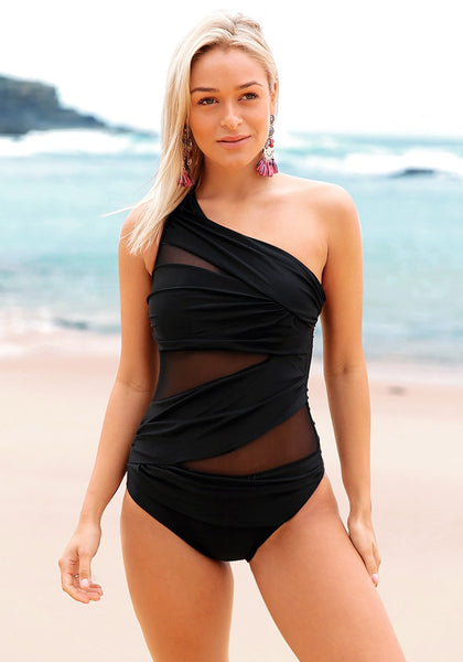 Front view of black mesh one-shoulder ruched swimsuit's 3D image