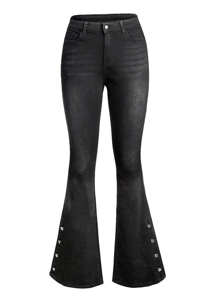 Front view of black mid-waist side buttons flared denim jeans' image