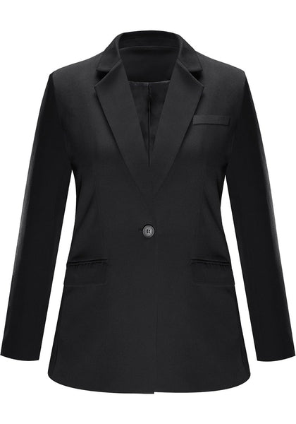 Front view of black notch lapel single-button basic blazer's image