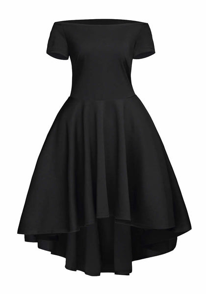 Front view of black off-shoulder high-low skater dress