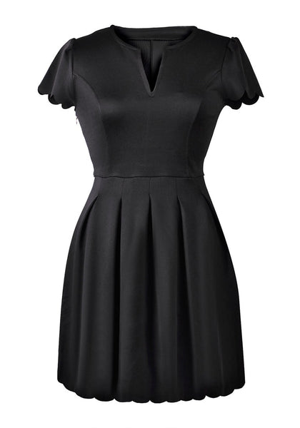Front view of black scallop hem skater dress' 3D image