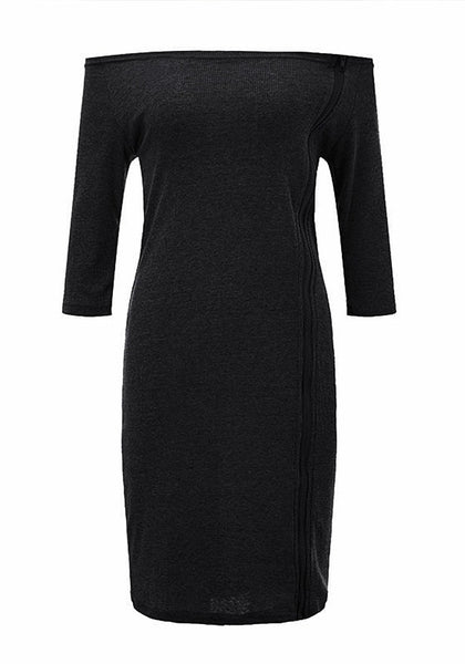 Front view of black side-zip long sleeves off-shoulder dress' 3D image