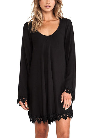 Black Lace Trim Long Sleeves Shift Dress