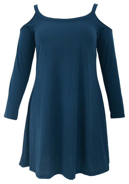Front view of blue cold-shoulder tunic dress' 3D image