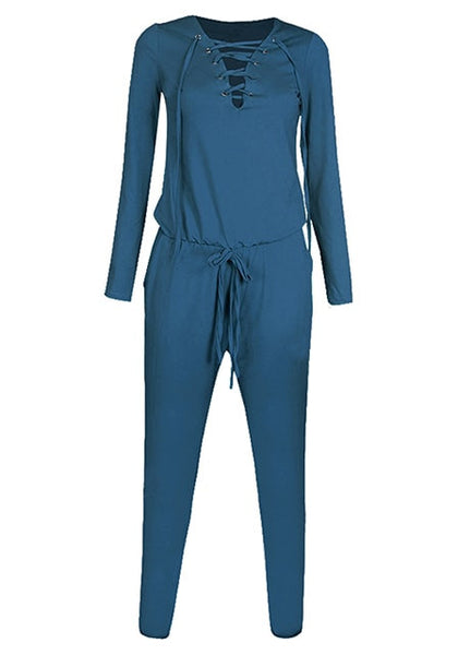 Front view of blue grommet lace up long sleeves jumpsuit 3D image