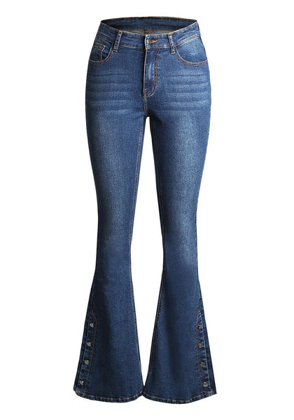 Front view of blue mid-waist side buttons flared denim jeans' image