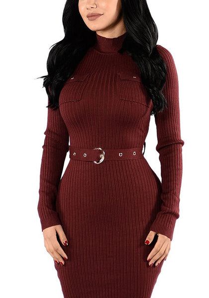 Front view of brunette model in maroon mock neck belted ribbed midi dress