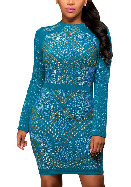 Front view of brunette model in teal jeweled quilted dress
