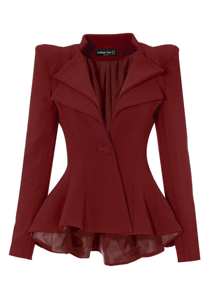 Front view of burgundy double lapel fit-and-flare blazer