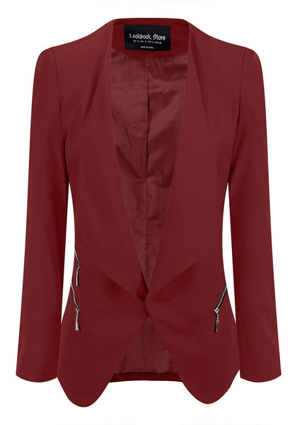 Front view of burgundy draped blazer