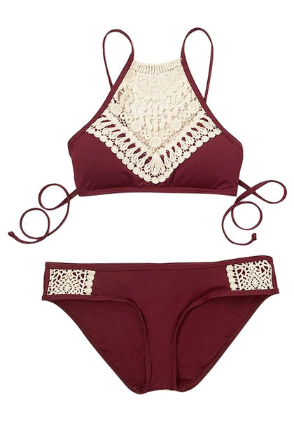 Front view of burgundy high neck halter bikini set's 3D image