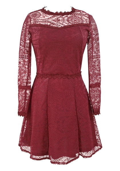 Front view of burgundy lace A-Line dress' 3D image