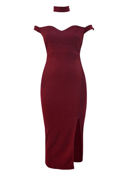Front view of burgundy off-shoulder choker bodycon dress' 3D image