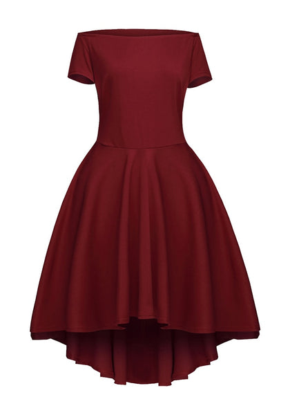 Burgundy Off-Shoulder High-Low Skater Dress